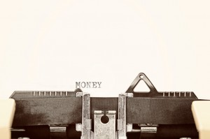 Money on typewriter page